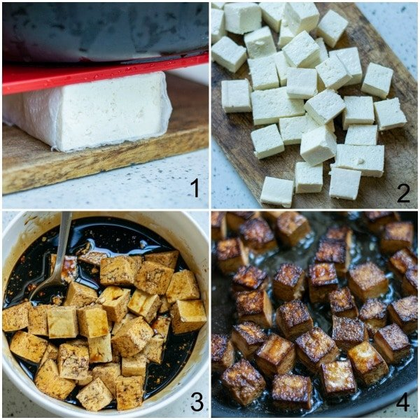 collage tofu being cut, marinaded and cooked in a pan