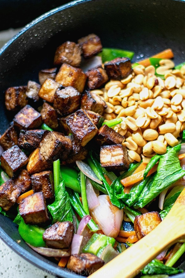 Kung Pao Tofu cooking in a pan