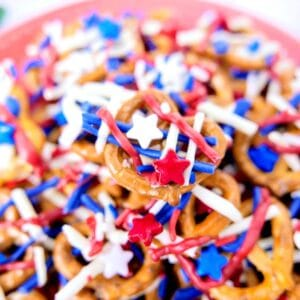 Patriotic Pretzels with Star Sprinkles and Jimmies closeup