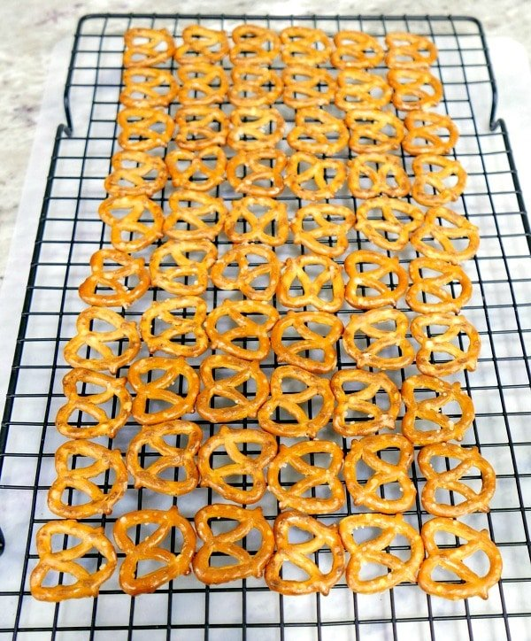 Knot Pretzels lined on a cooling rack