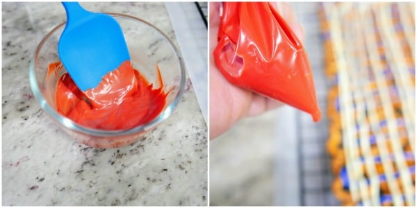 melted red candy melts in a glass bowl and in a squeeze baggie