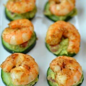 shrimp on cucumber slices