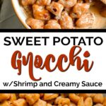 closeup of sweet potato gnocchi in a creamy sauce