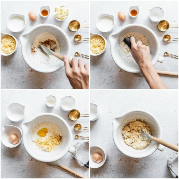 mixing bowls with ingredients for apple scones surrounding