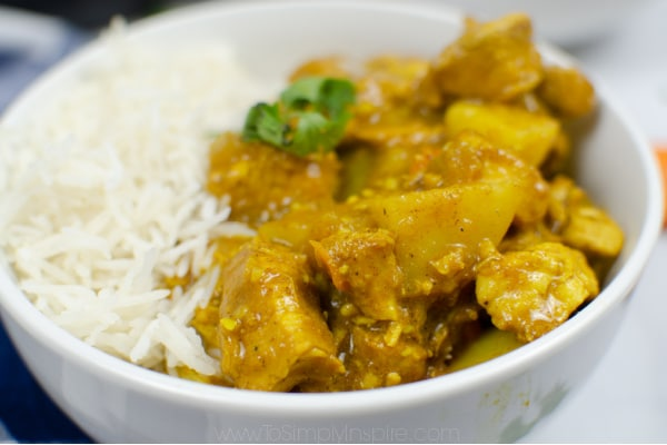 closeup of a white bowl with white rice and chicken curry