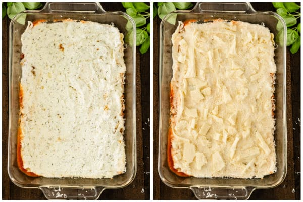 cheese layers of lasagna being made