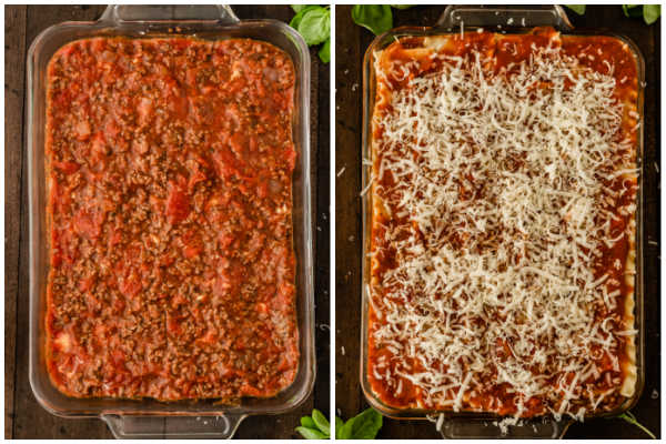 casserole dish with sauce layer of lasagna
