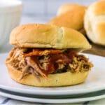 bbq pulled pork sandwich on a bun