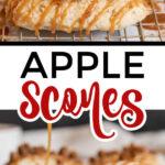 apple scones on a metal cooking rack