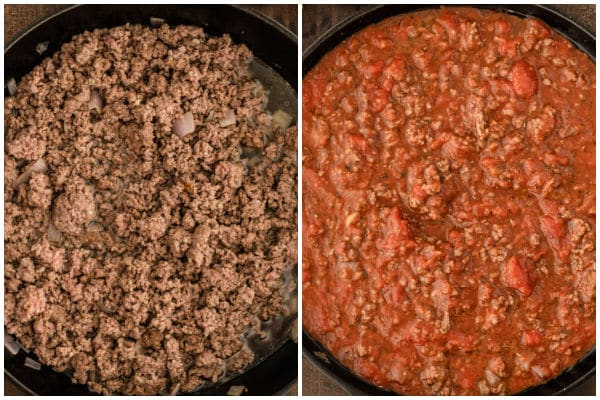 closeup of ground beef and tomato sauce in a black pan