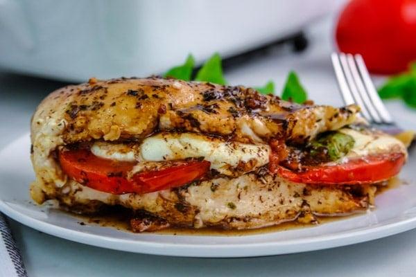 boneless chicken breast stuffed with fresh mozzarella cheese, tomato and fresh basil