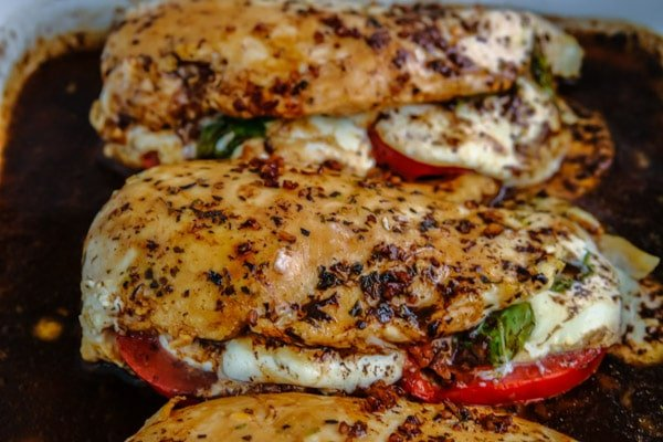 3 caprese stuffed chicken breasts with balsamic
