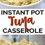 tuna casserole in a white bowl
