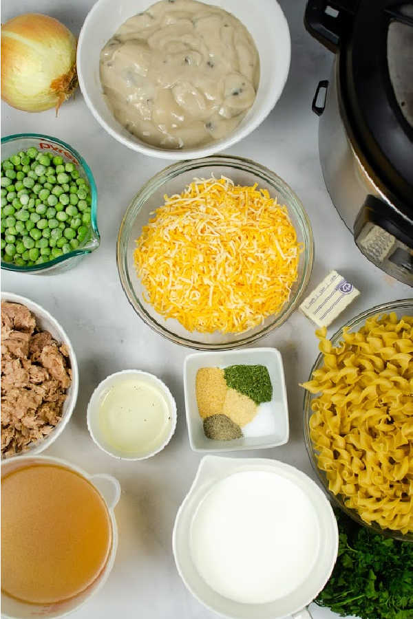several ingredients needed for instant pot tuna casserole recipe