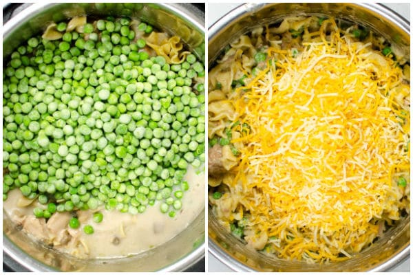 peas and shredded cheese in an instant pot