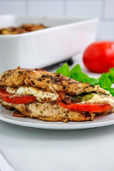 chicken breast stuffed with tomato slice, fresh mozzarella and fresh basil