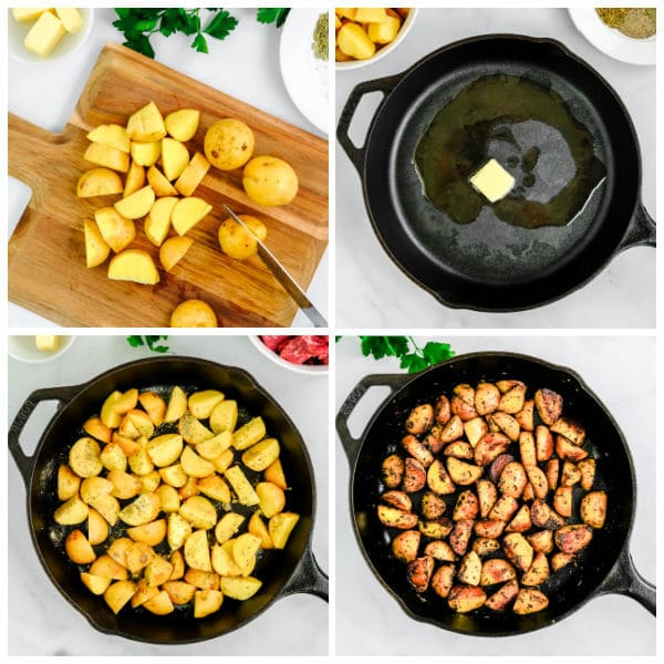 diced potatoes on a cutting board and in a cast iron pan