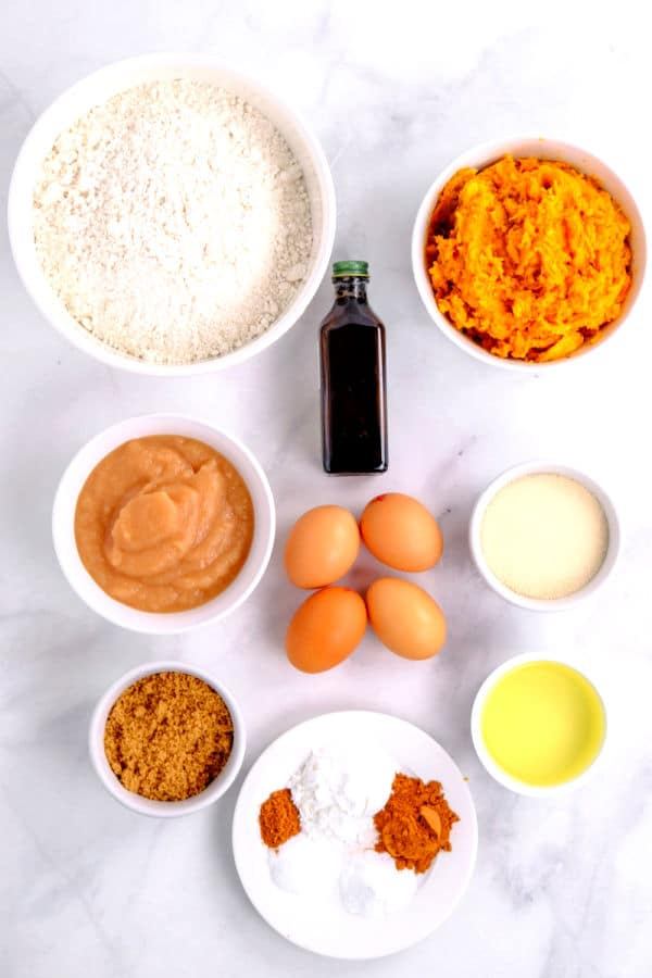several bowls of ingredients for sweet potato bread