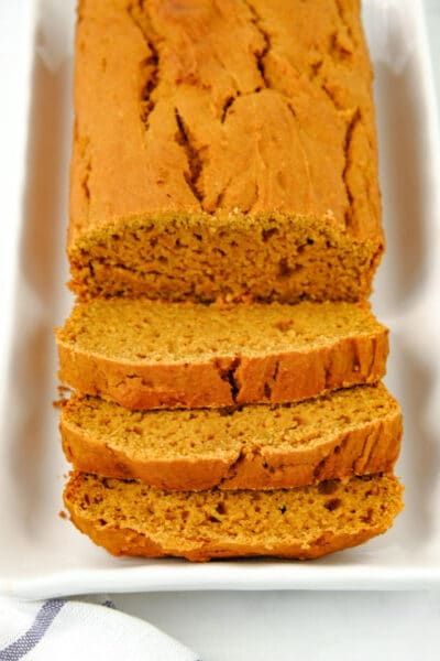 sweet potato bread with 3 slices cut