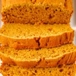 closeup of slices of sweet potato bread