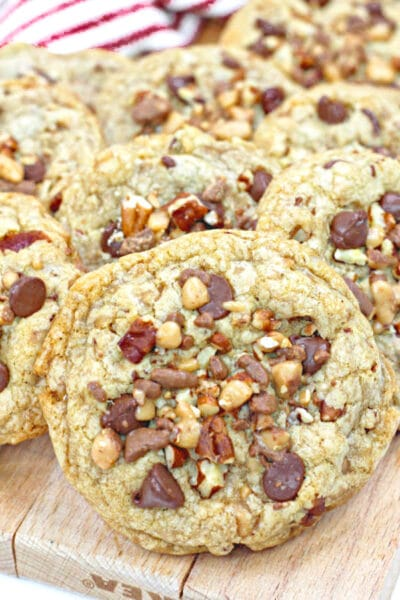 toffee chocolate chip cookies with pecans on top