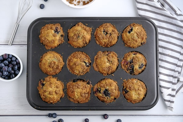 a 12 muffin tin full of lemon blueberry muffins