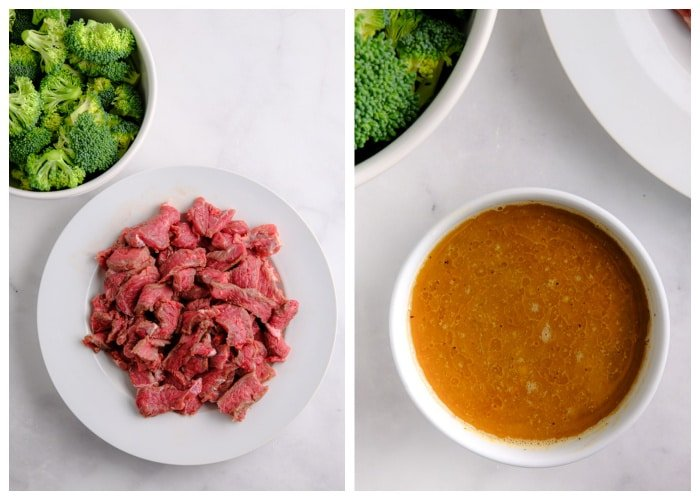 a white plate with raw steak strips and a bowl of sauce mixture