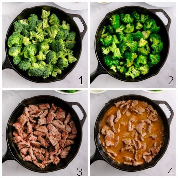 broccoli florets and steak strips in a cast iron pan