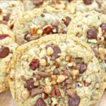 closeup of chocolate chip toffee cookies