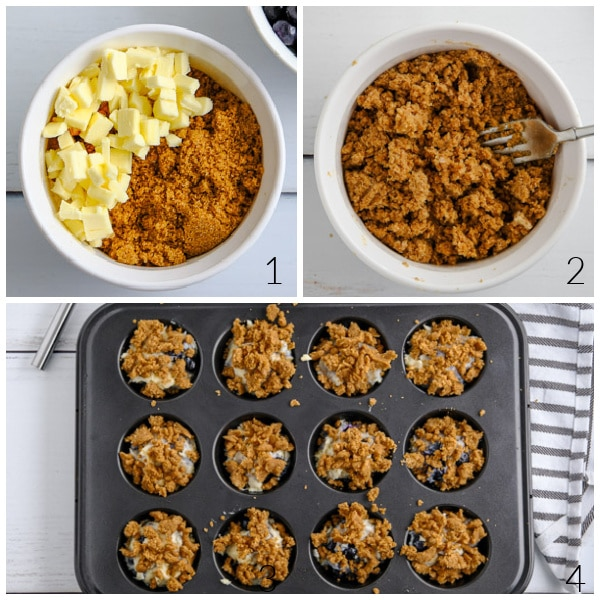 streusel topping being mixed in a bowl and put on muffin in a tin