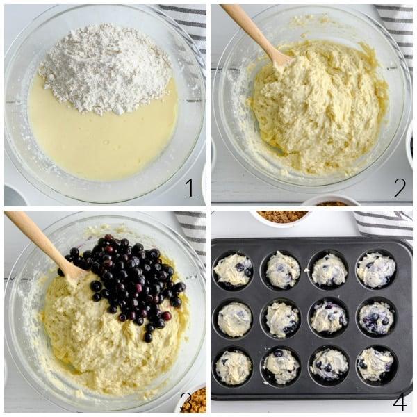 adding blueberries batter for muffins
