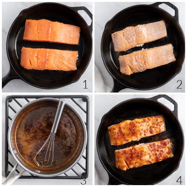 salmon fillets cooking in a cast iron pan