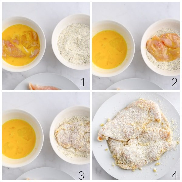 bowls of eggs and flour and chicken breasts being coated