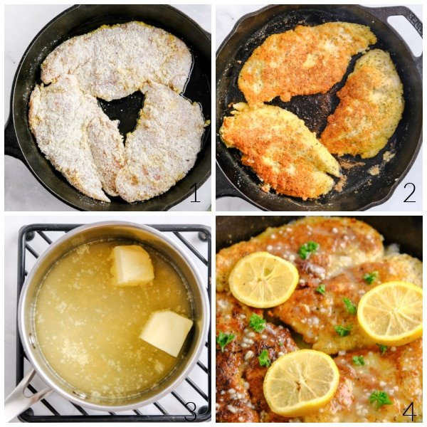 breaded chicken breasts cooking in a cast iron skillet