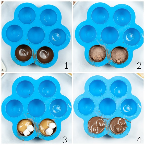 blue silicon mold with melted chocolate, cocoa powder, mini marshmallows