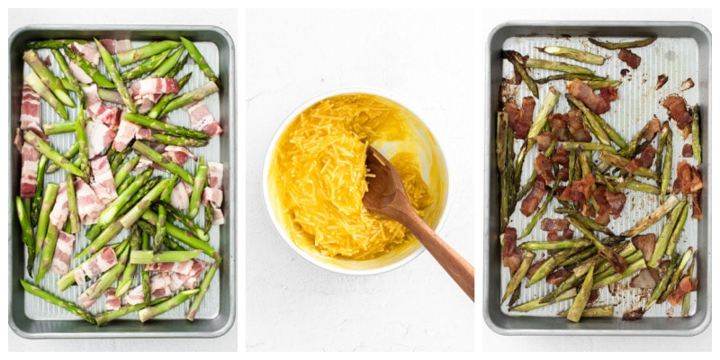 a bowl with egg and parmesan mixture and a baking sheet with bacon and asparagus