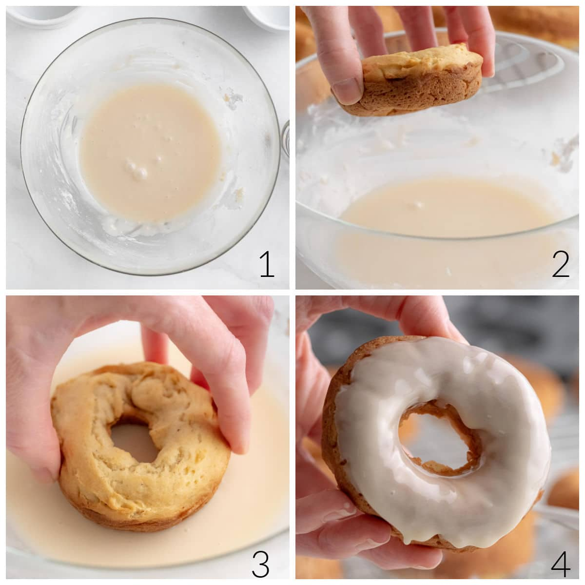 dipping a baked donuts into a sugar glaze in a bowl
