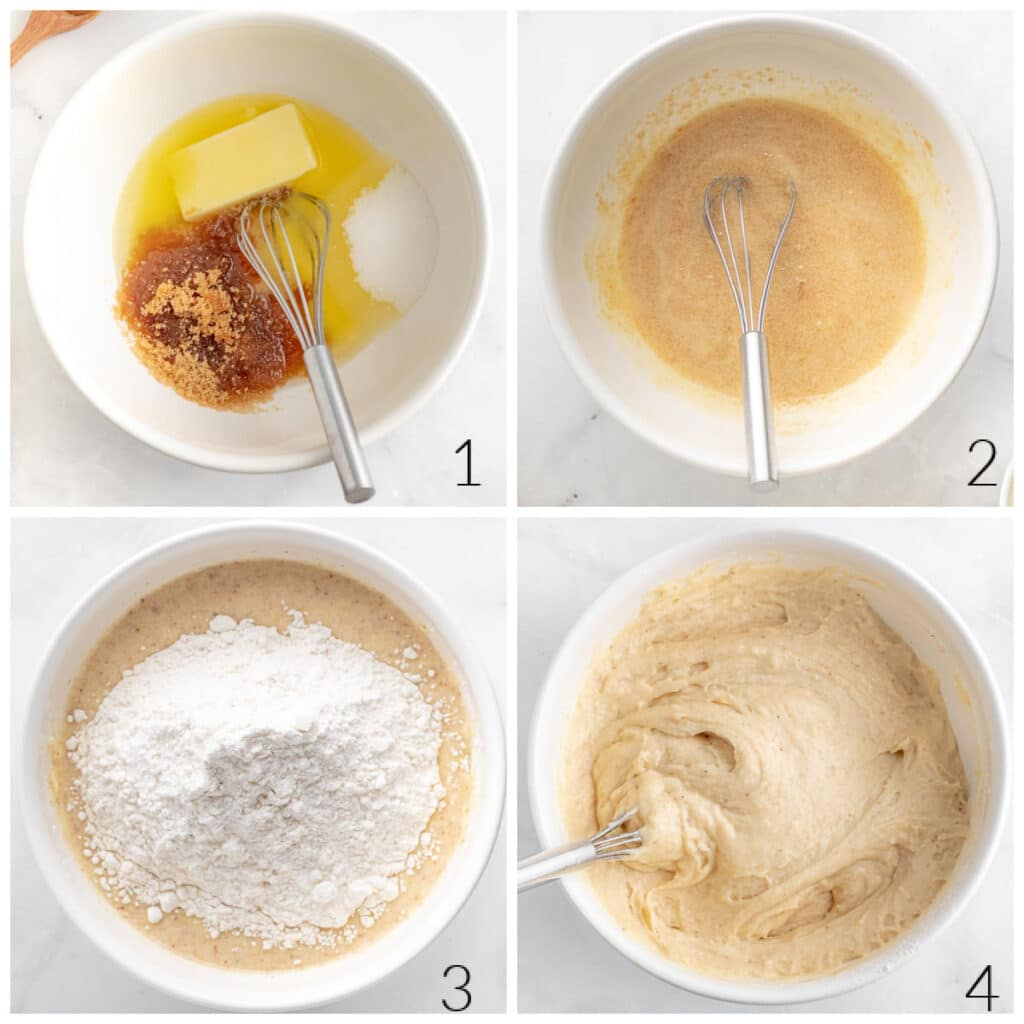 white bowl with eggs, butter and flour being mixed together