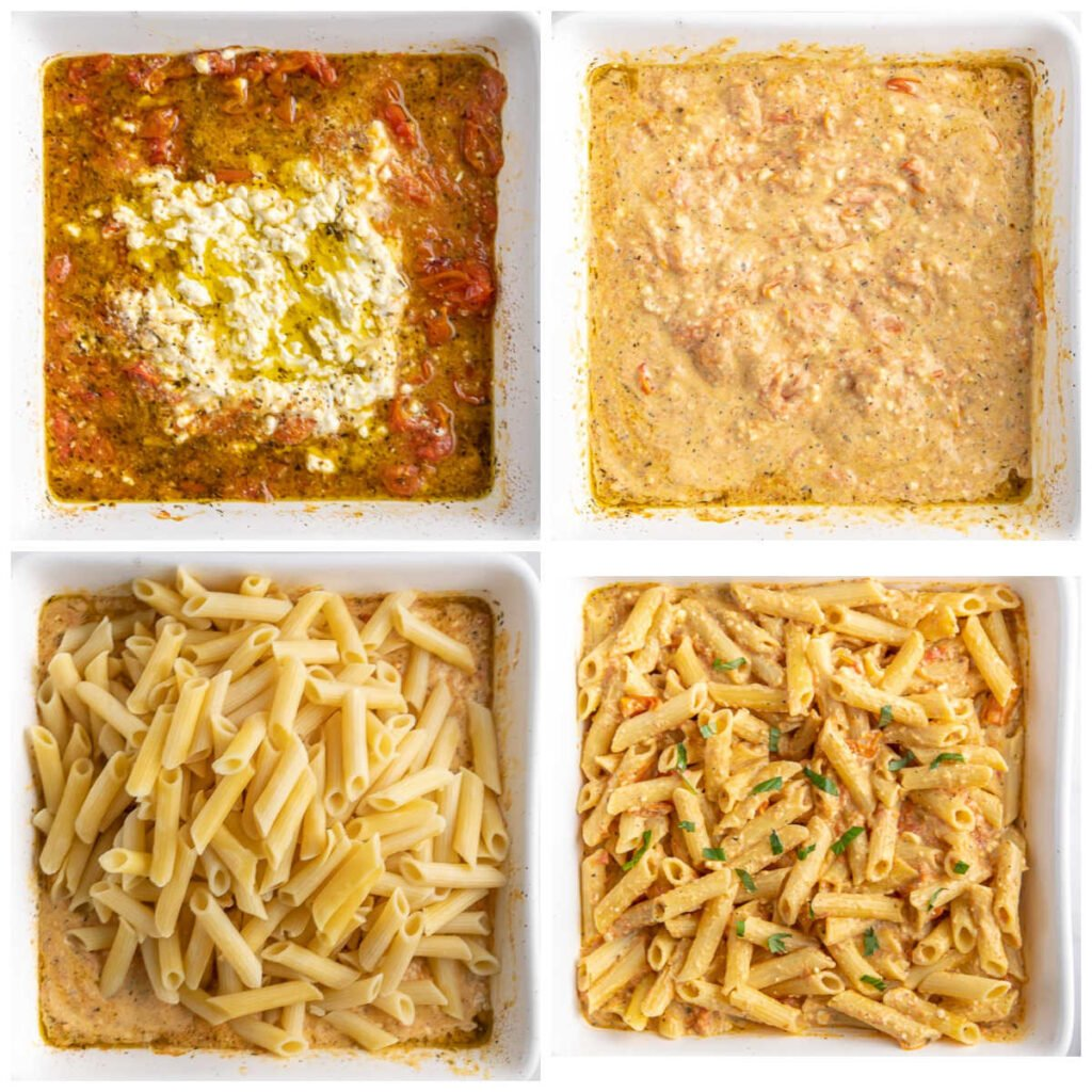 baking dish with tomato feta sauce and penne pasta being added and mixed in.