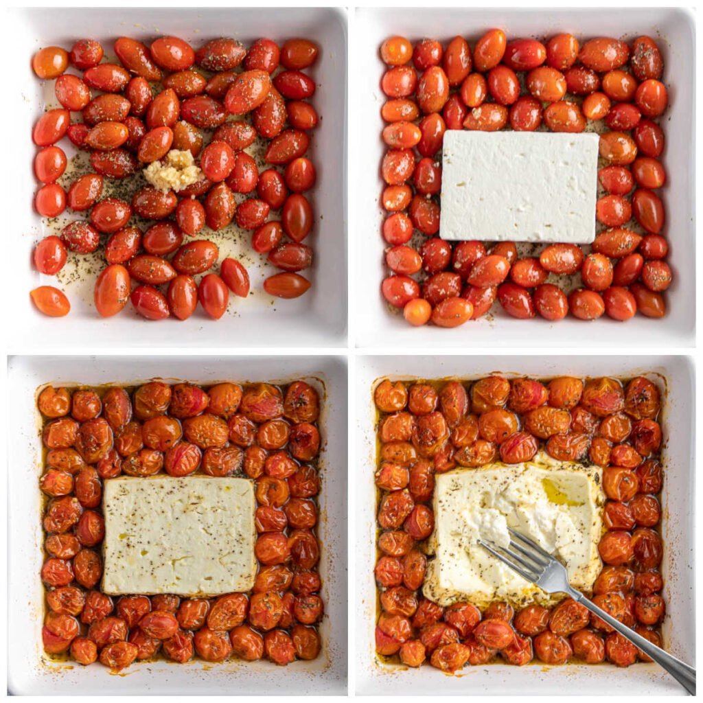 a white baking dish with cherry tomatoes with garlic and herbs and a block of feta cheese in the center.
