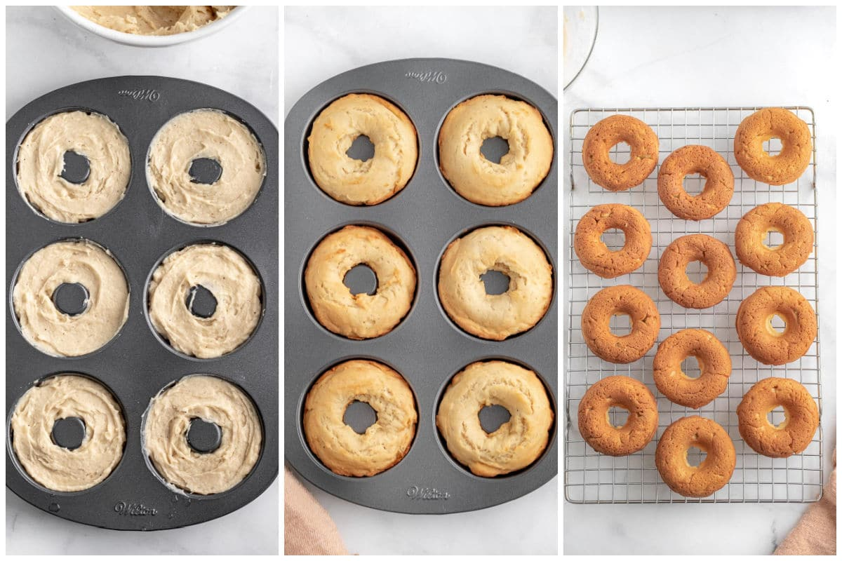 uncooked and baked donuts in a donut tin and cooked donuts on a wire cooling rack