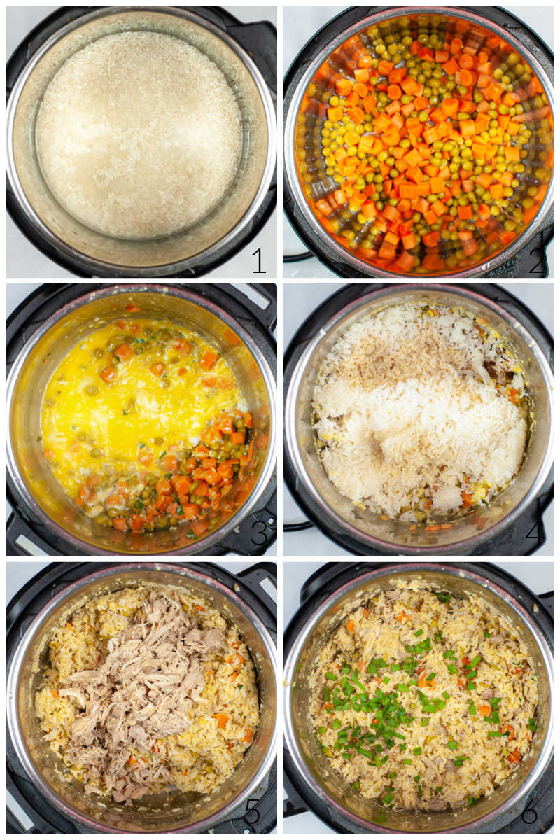 several pictures of an instant pot chicken fried rice cooking process