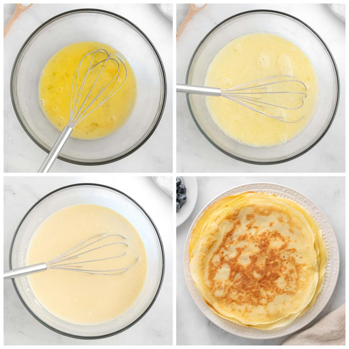 crepe batter being mixed in a glass bowl
