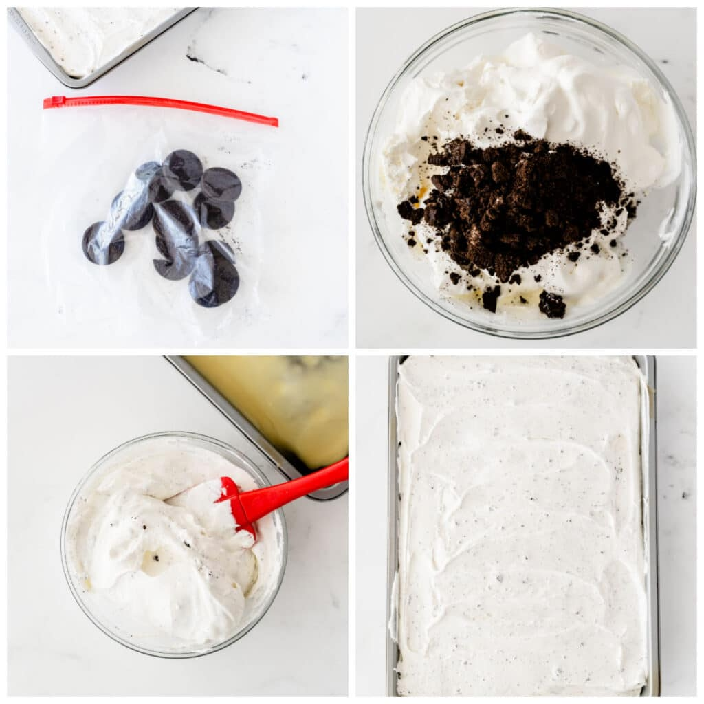 whipped topping having oreo crumbles mixed in in the glass bowl and on a sheet cake