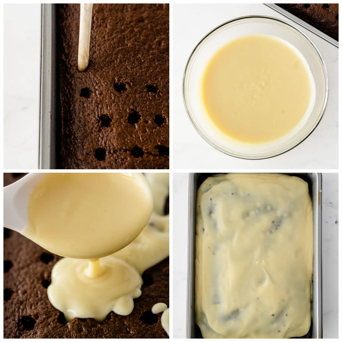 chocolate cake being poked with a wooden spoons and topped with vanilla pudding