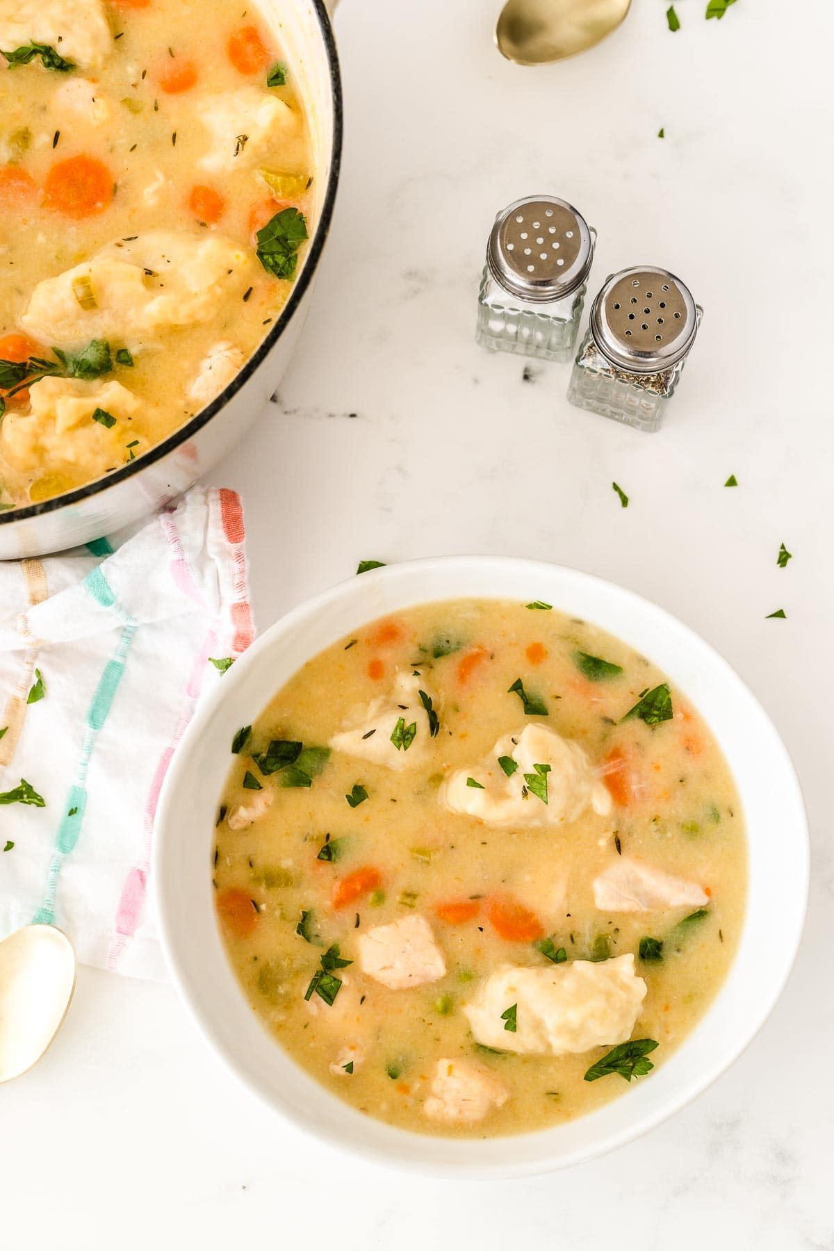 white bowl full of chicken and dumplings