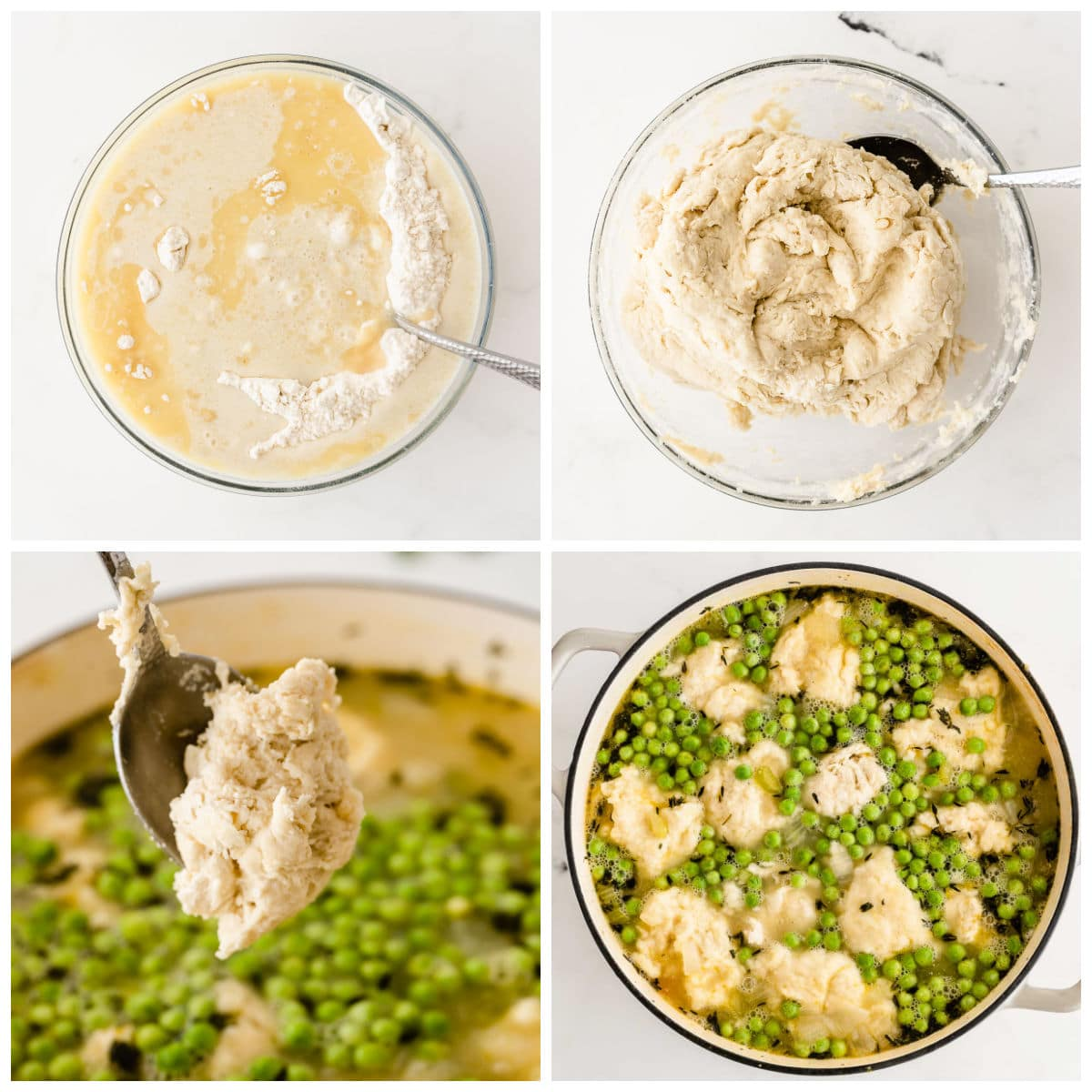mixing dumpling dough in a glass bowl and scooping dumplings into chicken and peas soup broth