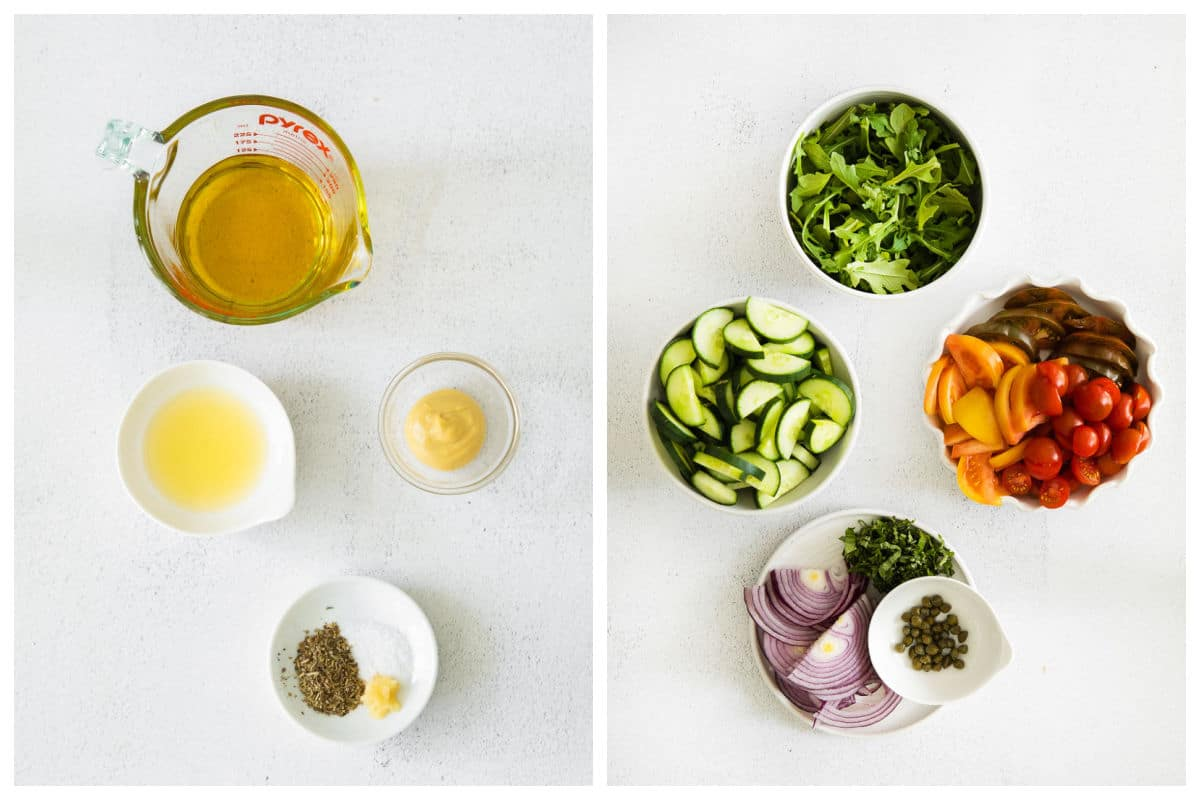 ingredients for panzanella salad in white bowls
