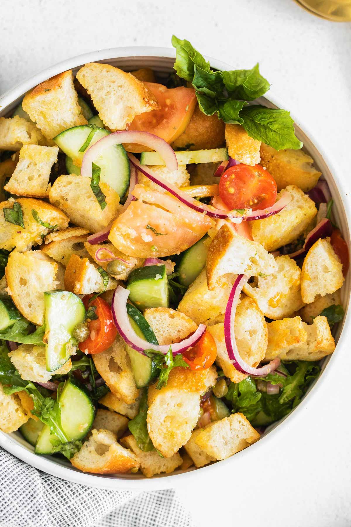 closeup panzanella salad with bread cubes