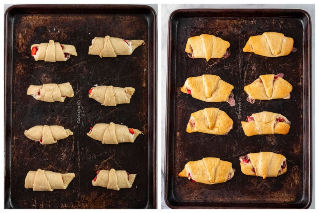crescent roll dough with strawberry filling rolled up on a baking sheet